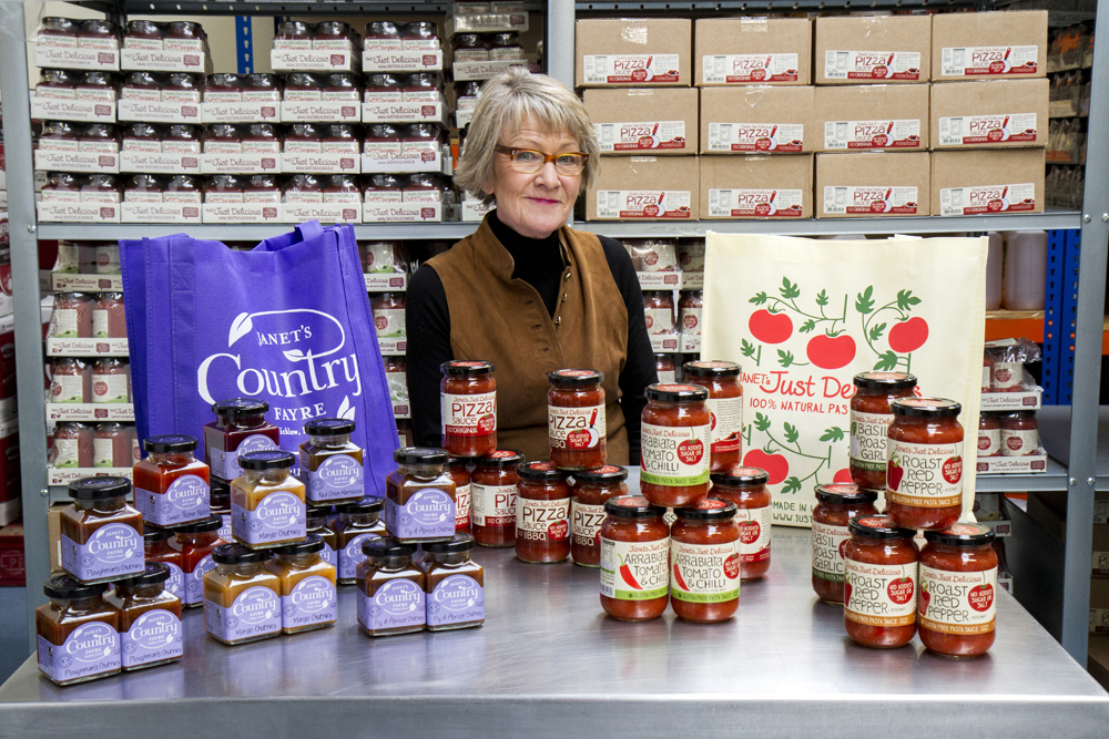 Janet Drew from Janet's Country Fayre with some of her fantastic products which are on shelves nationwide